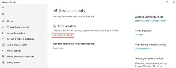 Enter Core Isolation Details On Windows Security