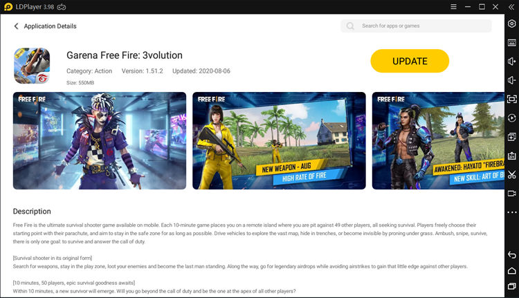 Search Garena Free Fire in Play Store