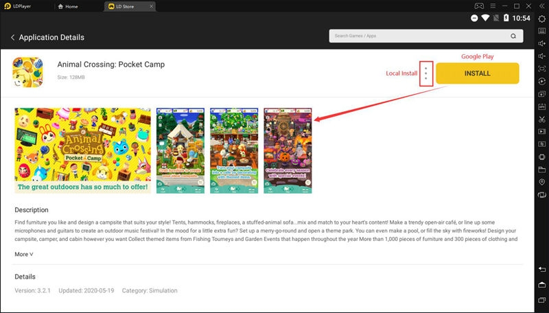 Step 2: Search and download Animal Crossing: Pocket Camp from LD Store
