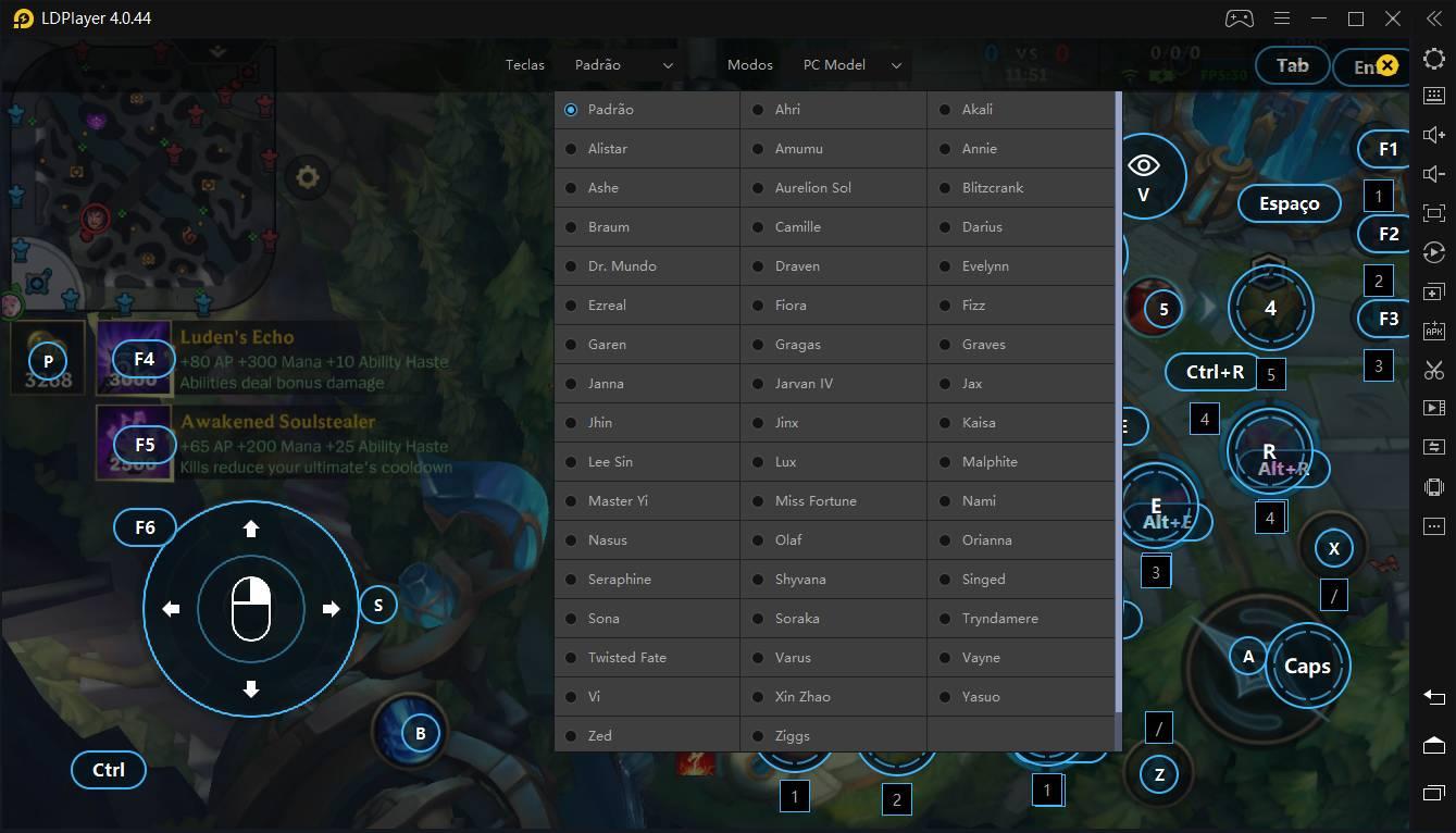 Mapeamentos específicos de League of Legends: Wild Rift