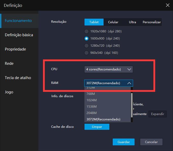 Onde pode configurar CPU e RAM no LDPlayer?